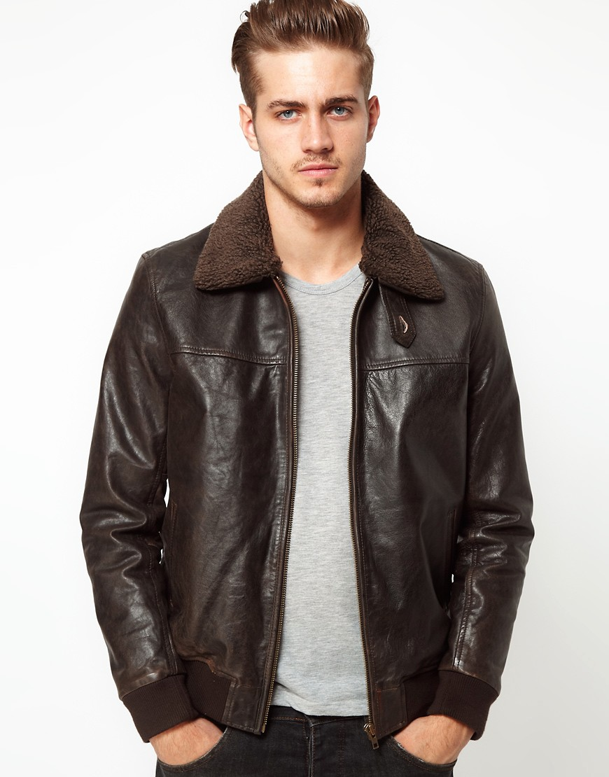 Image 1 of ASOS Leather Pilot Jacket With Removable Borg Collar