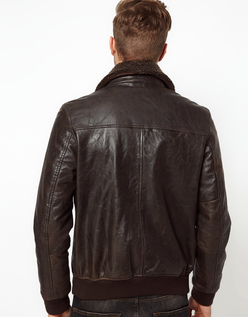 Image 2 of ASOS Leather Pilot Jacket With Removable Borg Collar