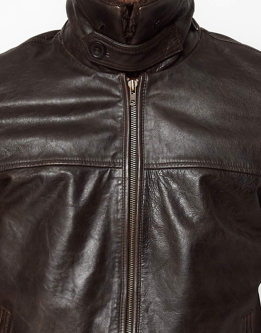 Image 3 of ASOS Leather Pilot Jacket With Removable Borg Collar