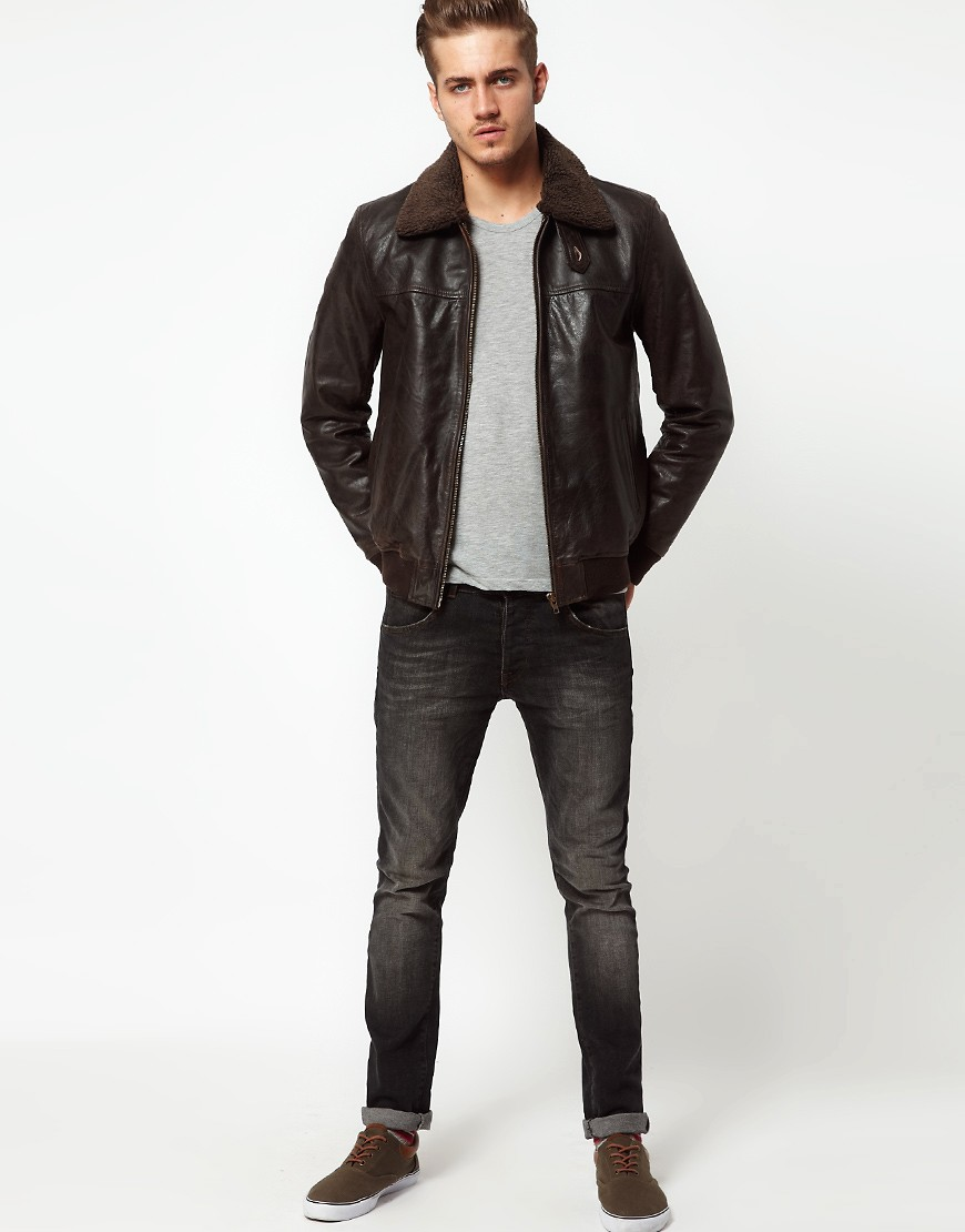 Image 4 of ASOS Leather Pilot Jacket With Removable Borg Collar