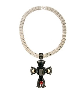Image 1 ofASOS Premium Ophelia Cross Necklace