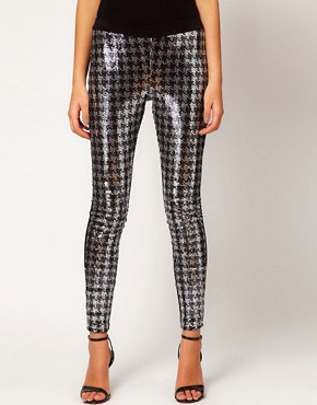 Image 4 ofASOS Leggings with Sequin Dogstooth Panel