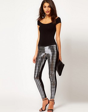 Image 1 ofASOS Leggings with Sequin Dogstooth Panel