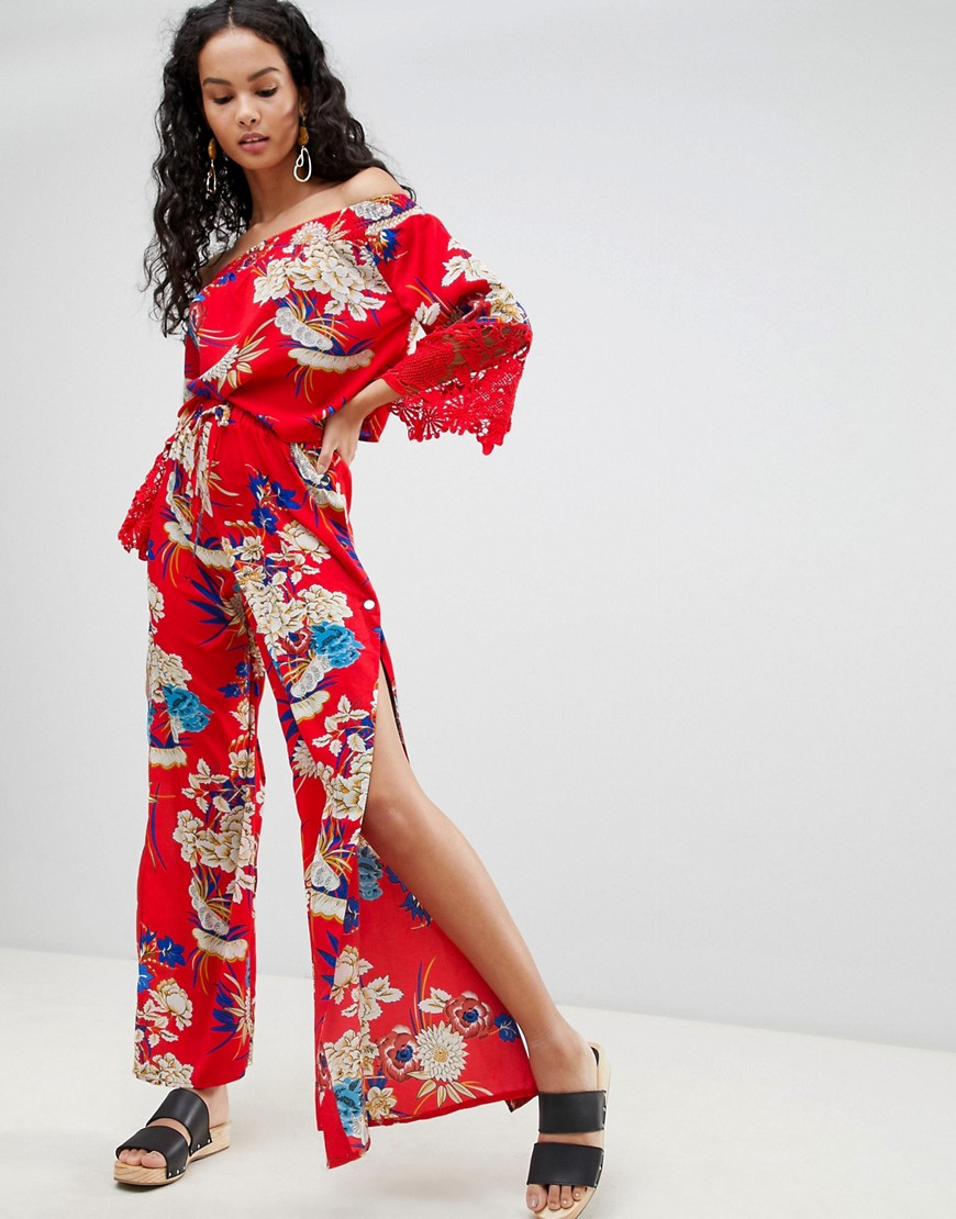 Pantalones de pernera ancha con estampado floral de Parisian