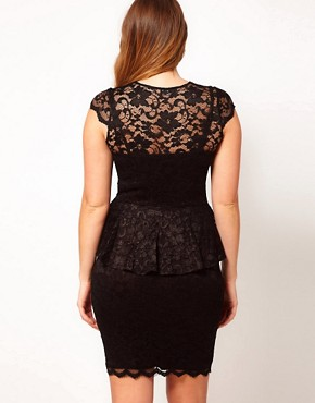 Image 2 ofASOS CURVE Exclusive Peplum Dress In Lace