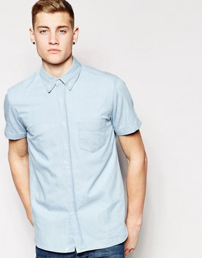 Hoxton Denim Shirt Bleach Denim Short Sleeve
