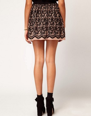 Image 2 ofRiver Island Flocked Lace Skirt