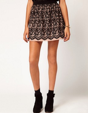 Image 4 ofRiver Island Flocked Lace Skirt