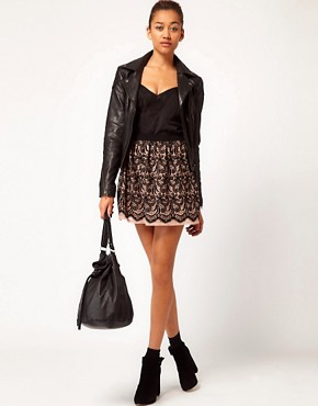 Image 1 ofRiver Island Flocked Lace Skirt