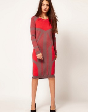 Image 1 ofDagmar Merino Knitted Dress In Graphic Jacquard Design