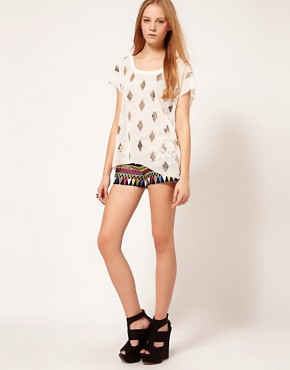 Image 1 ofSass &amp; Bide Embroidered Silk Mix Shorts