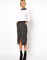 ASOS Ponte Pencil Skirt in Check