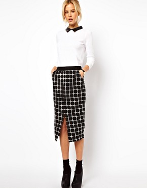 Image 1 ofASOS Ponte Pencil Skirt in Check