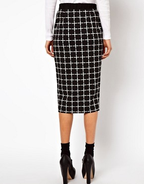 Image 2 ofASOS Ponte Pencil Skirt in Check