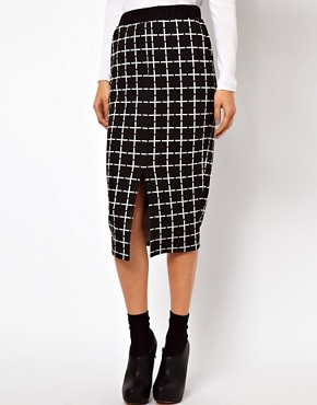 Image 4 ofASOS Ponte Pencil Skirt in Check