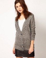 Warehouse Brushed Animal Cardigan