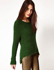 Ganni Fluffy Jumper with Dipped Hem