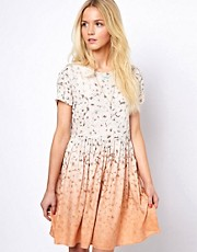 ASOS Smock Dress In Ombre Floral Print