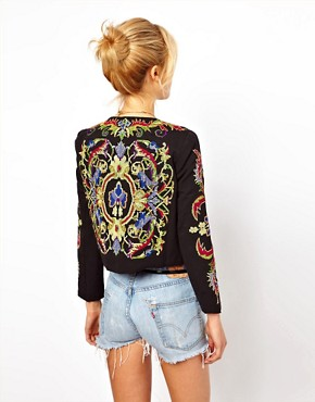 Image 2 ofASOS PETITE Jacket With Floral Embroidery