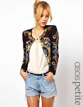 Image 1 ofASOS PETITE Jacket With Floral Embroidery