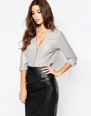 Lipsy Zip Front Metallic Blouse