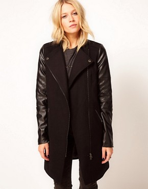 Image 1 ofASOS PU Biker Coat