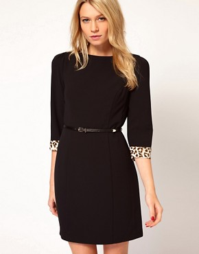 Image 1 ofOasis Animal Trim Shift Dress