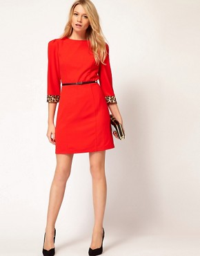Image 4 ofOasis Animal Trim Shift Dress