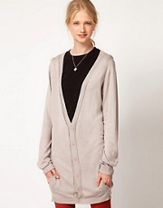 Andersen & Lauth Fine Knit Longline Cardigan With Contrast Trim