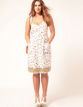 Image 4 of ASOS CURVE Midi Summer Dress with Floral Border Print