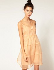 Antipodium Sleeveless Dress In Silk Organza