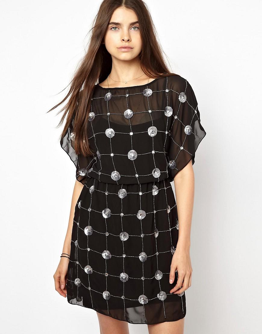 Greylin Embellished Tunic Dress - Black