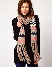 Warehouse Patterned Bobble Scarf
