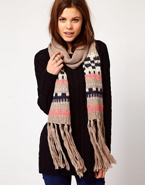 Image 1 ofWarehouse Patterned Bobble Scarf