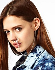ASOS Stone Set Nose Ring & Linking Earring