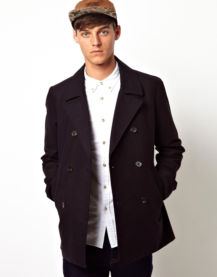 Image 1 of ASOS Short Mac In Navy