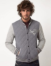 ASOS Varsity Jacket With Quilted Fabric And Embroidery