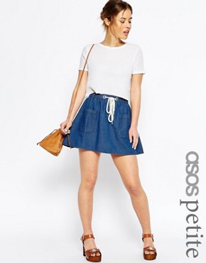 ASOS PETITE Denim High Waist Flippy Skirt in Mid-Wash Blue