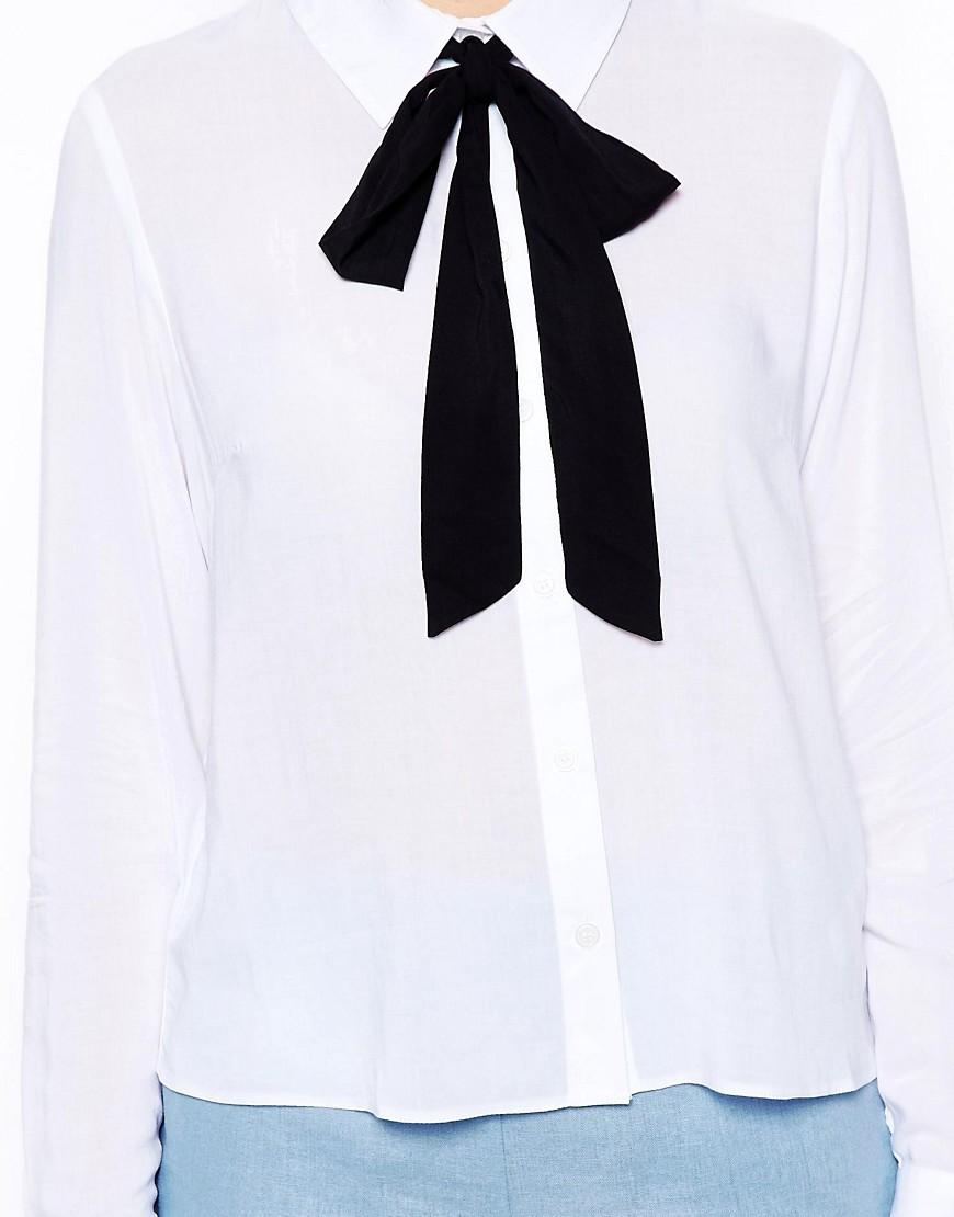 Image 3 ofASOS PETITE Exclusive Shirt with Contrast Tie