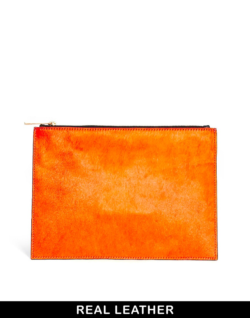 Image 1 ofASOS Pony Effect Leather Clutch Bag