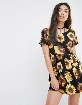 Motel Tiara Smock Dress With Sunflower Print