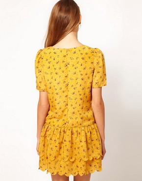 Image 2 ofDahlia Ditsy Floral Dress With Drop Waist and Scallop Hem