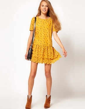 Image 4 ofDahlia Ditsy Floral Dress With Drop Waist and Scallop Hem