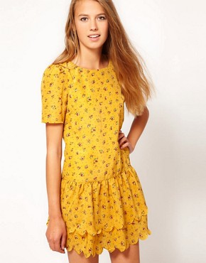 Image 1 ofDahlia Ditsy Floral Dress With Drop Waist and Scallop Hem