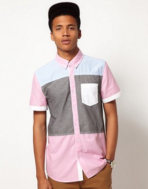 Image 1 ofBellfield Patchwork Shirt with Short Sleeves