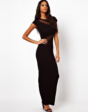 Image 1 ofASOS Mesh Insert Maxi Dress