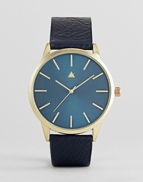 ASOS Watch In Navy With Faux Leather Strap