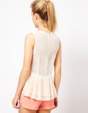 Image 2 ofASOS Sheer Top With Peplum