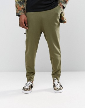 ASOS Drop Crotch Joggers In Khaki