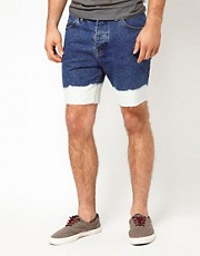 ASOS Denim Shorts With Bleach Dip Dye